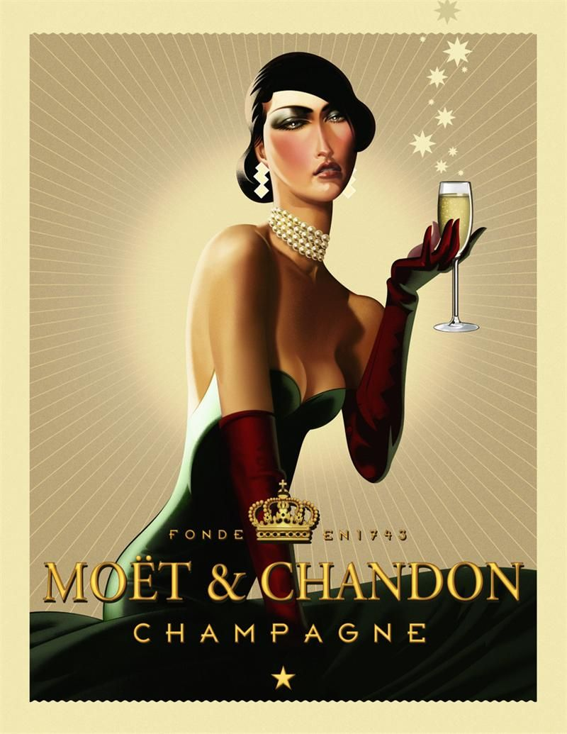 Champagne Lady Vintage Posters Robert Rodriguez Art Deco Wine Advertising