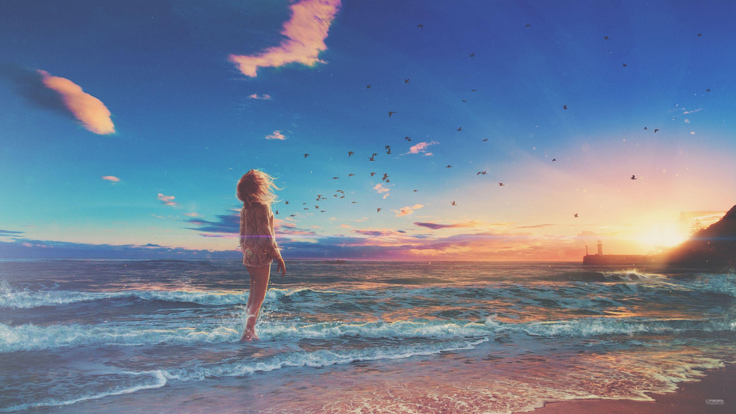 Girl At Beach Beach Wallpaper Sky Anime Instagram Beach