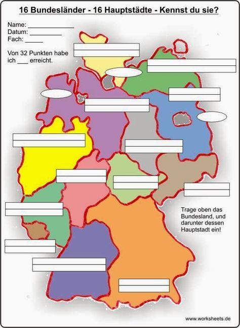 karte bundesländer zum ausdrucken Deutschland: die Bundesländer und ihre Hauptstädte 1) Beide Karten