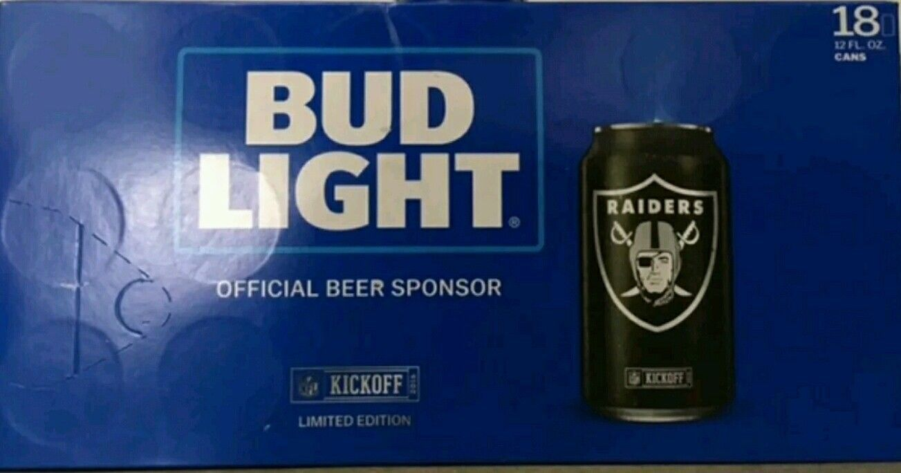 2016 Nfl Bud Light   Oakland Raiders ( Sealed 18 Pack) Kickoff Can
