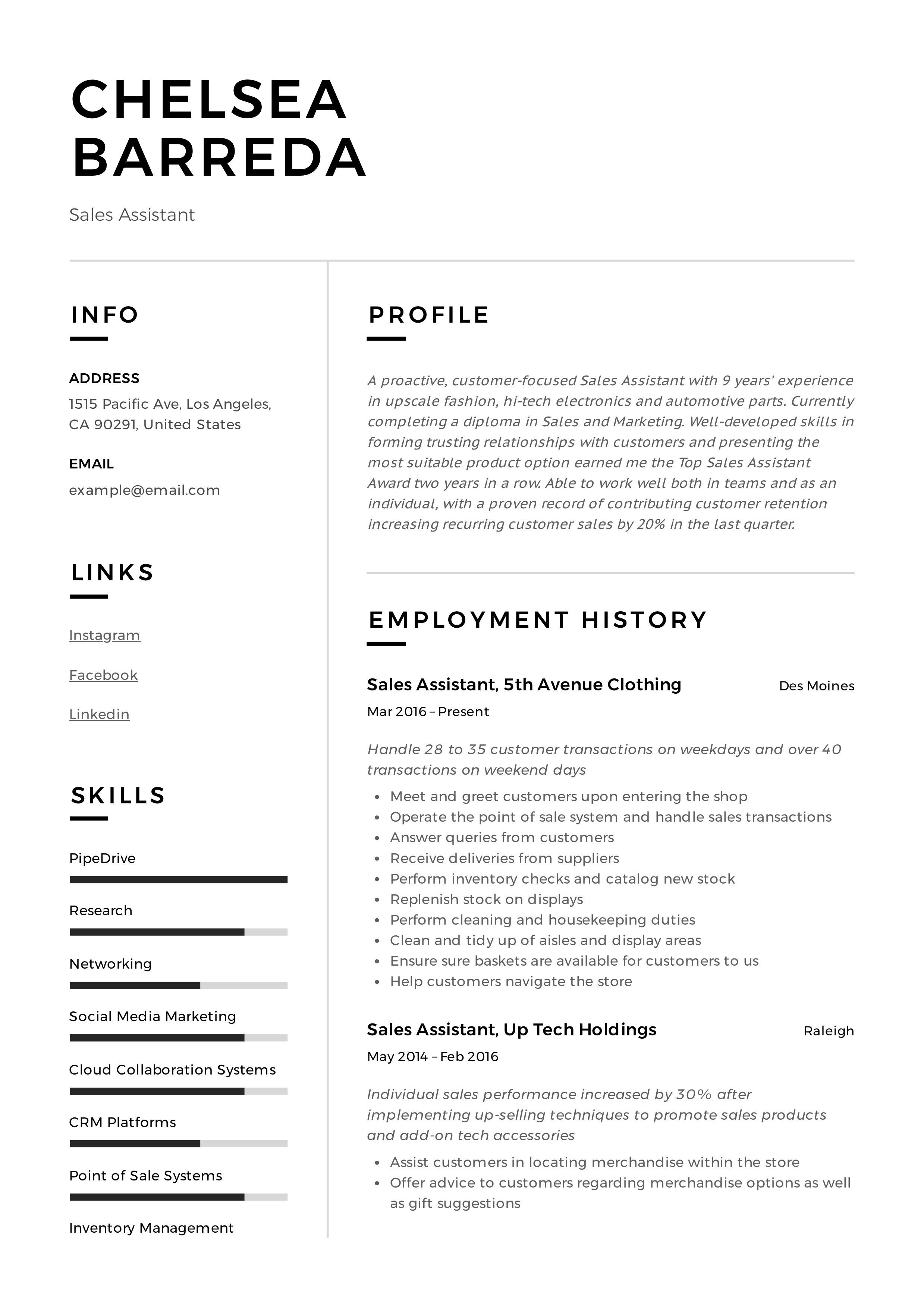 Sales Assistant Resume & Writing Guide in 2020 Resume