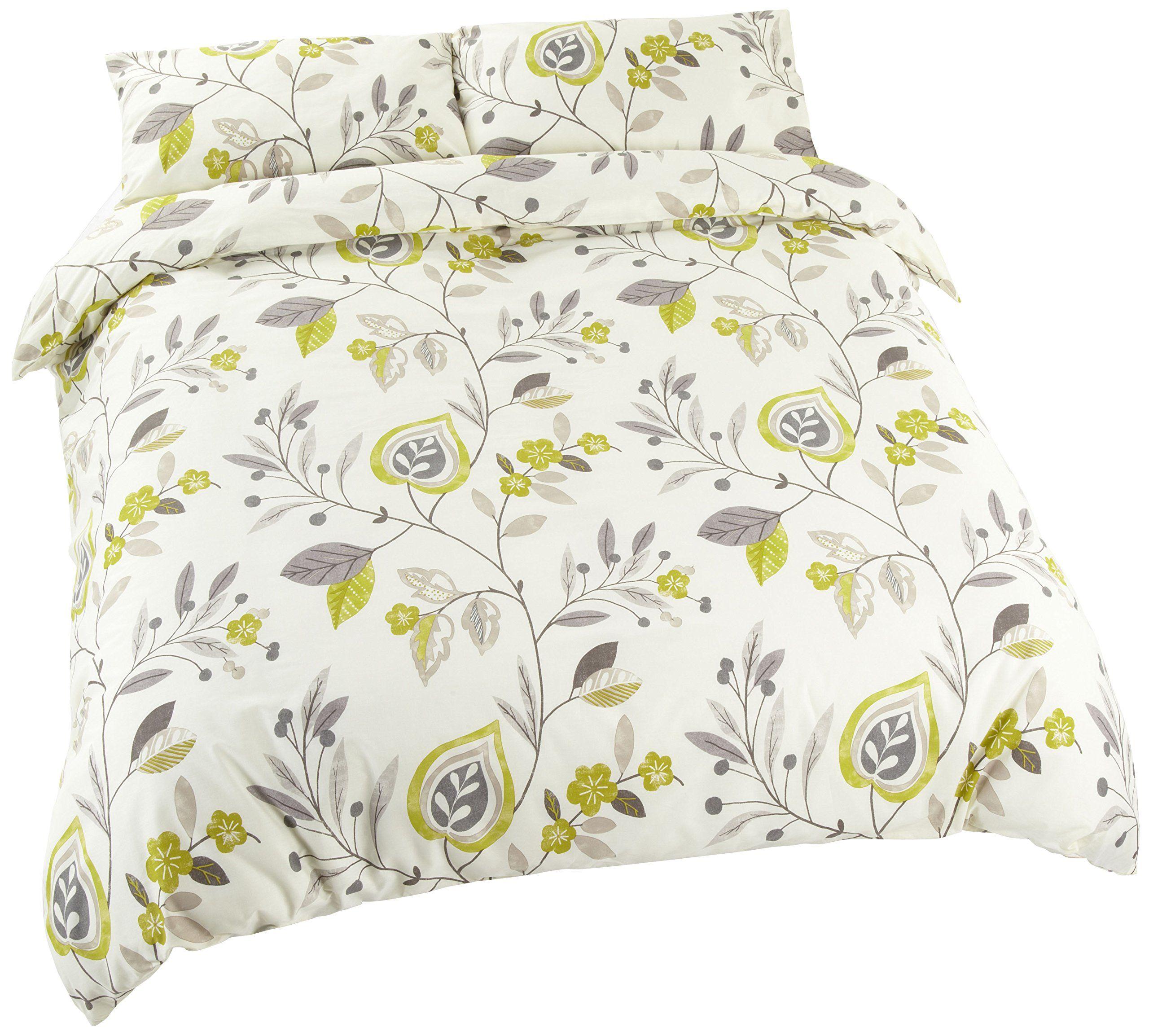 tropical cream green king size floral cotton blend duvet cover set arada iliv