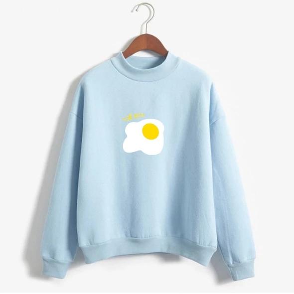 Autumn Harajuku Kawaii Egg Print Hoodies Winter Women Pastel Colors Sw Cigauy Sweatshirts Winter Hoodies Hoodie Print