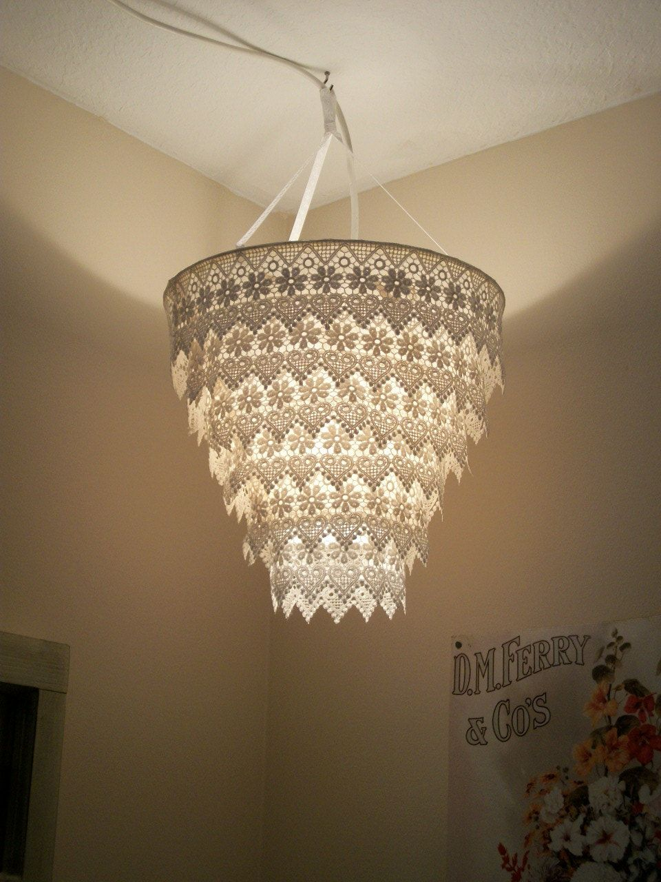 Venise lace faux chandelier pendant lamp shade 39 ivory for Hanging light bulbs diy