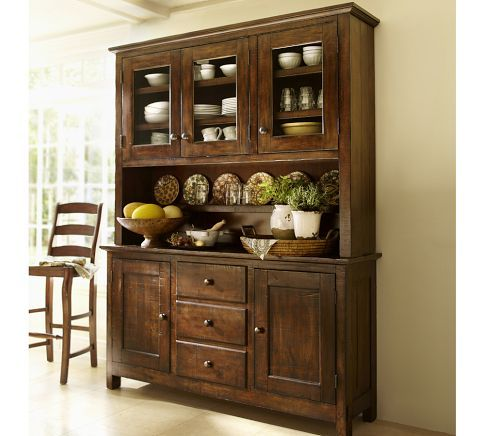 Benchwright Buffet Hutch Rustic Mahogany Stain Wood