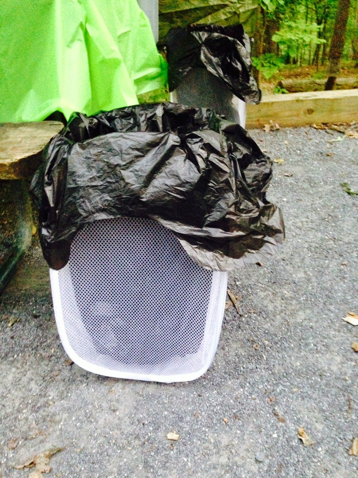 Trash can solution while camping! Compact and costs $1 ...
