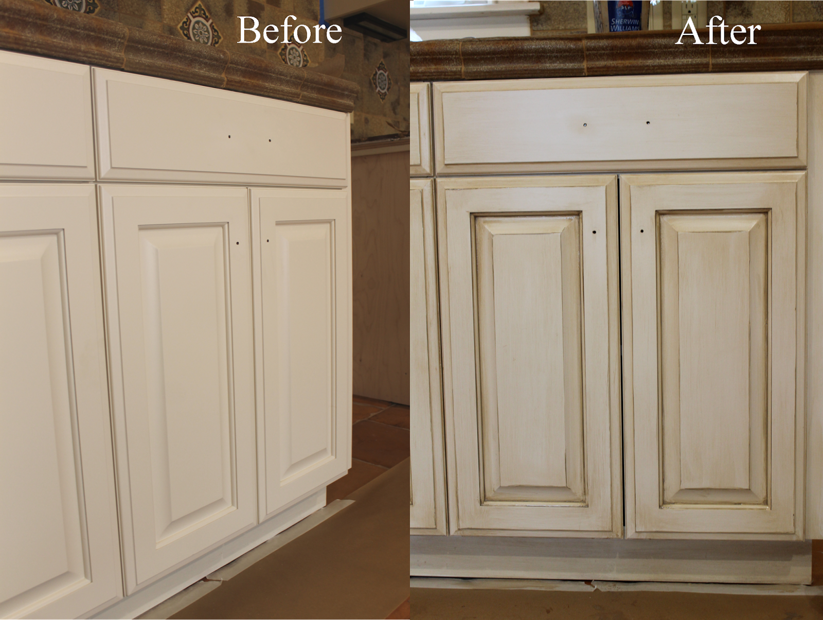 Antique White Kitchen Cabinets before and after.glazing/antiquing cabinets. a complete how to