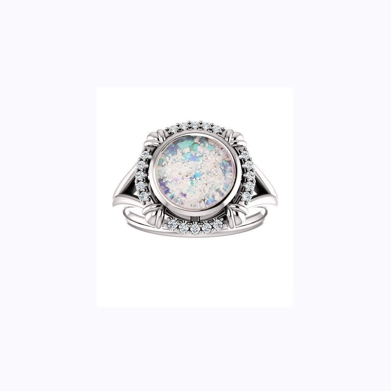 8mm Round Opal Cremation Ring 10k White Gold And Diamond Ring Cremation Jewelry Ash Ring Ash Jewelry Urn Ashes Jewelry Memorial Jewelry Ashes Jewelry