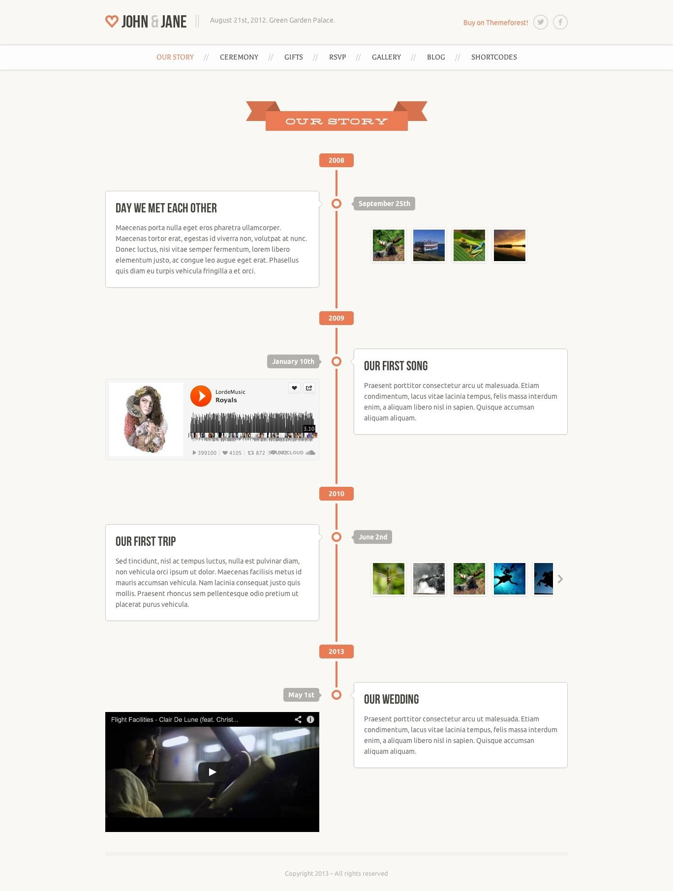 Wedding Responsive Single Page WordPress Theme Wordpress - Timeline website template