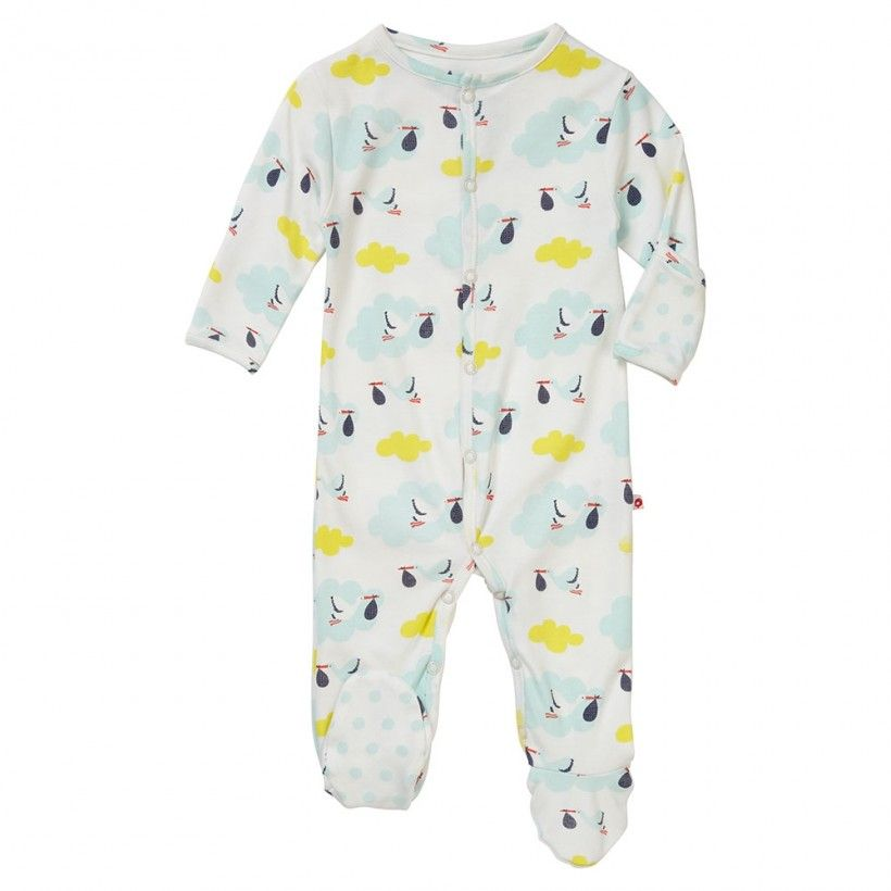 f2562bb555c This baby sleepsuit comes with a contrasting spot on the underfoot and  popper openings down the