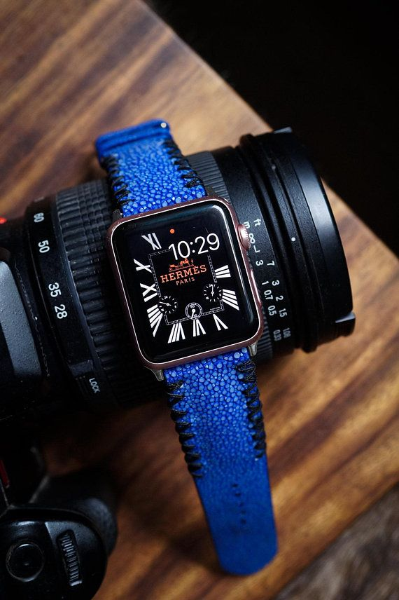 Blue Stingray Leather with Black Stitching Apple Watch