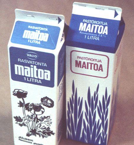 Valion maitotölkkejä 70-luvulta. Kevytmaito tuli markkinoille 1969. Rasvapitoisuus oli aluksi 2,5%.