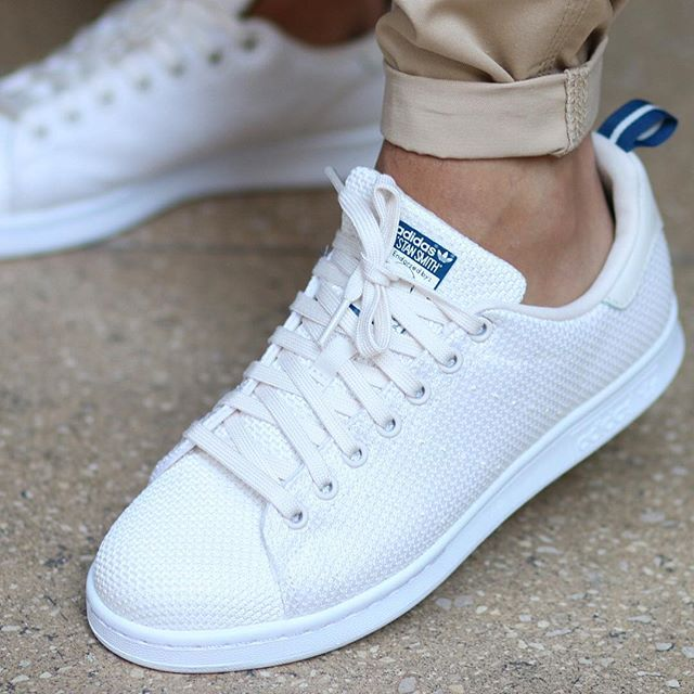 ADIDAS STAN SMITH CK Chalk White & Blue The Stan Smith CK has a circular knit upper with a rubber .