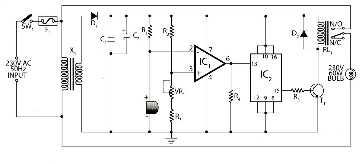 Circuit Diagram Of Sound Operated Light Circuit Diagram Electronics Projects Electronic Technician