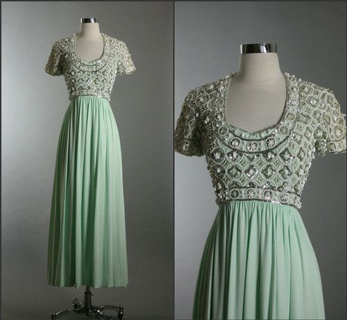 Vintage 50s 60s Elegant Beaded Jersey Empire Godess