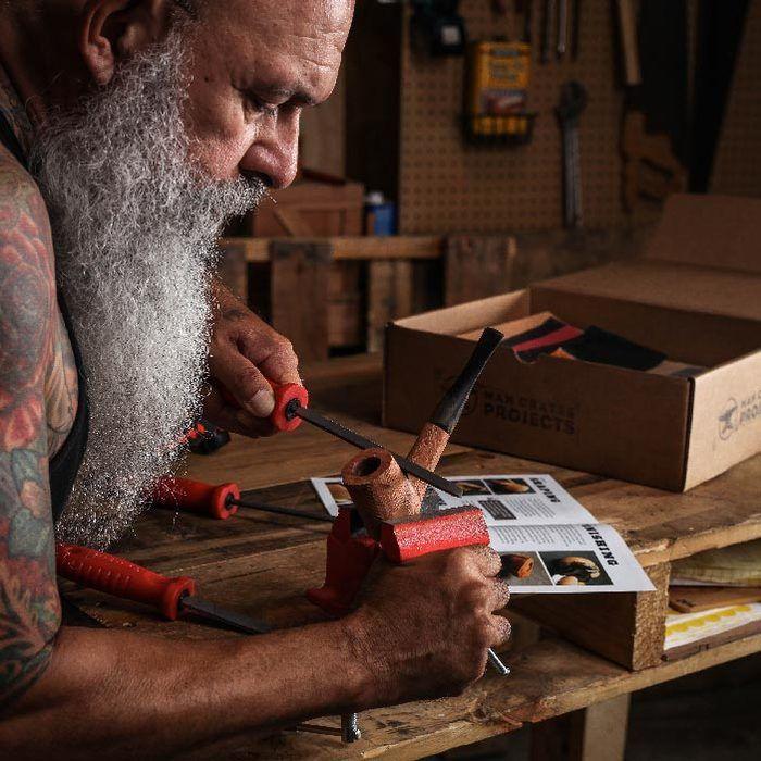 Pipe carving kit man crates xmas pipes diy