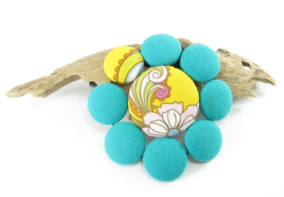 Textile brooch, fabric covered button brooch, handmade fabric jewelry, 100% cotton jewellery, large statement brooch, fabric button brooch.