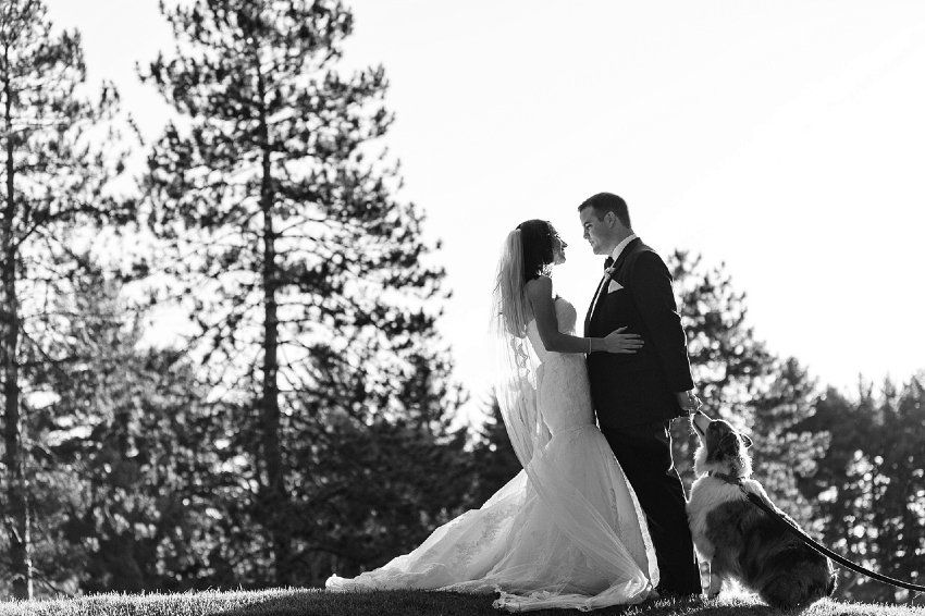 Fall Hall of Springs wedding with the bride and groom and their super cute dog!