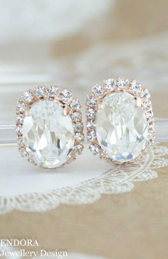 Clip On Bridal Earrings Oval
