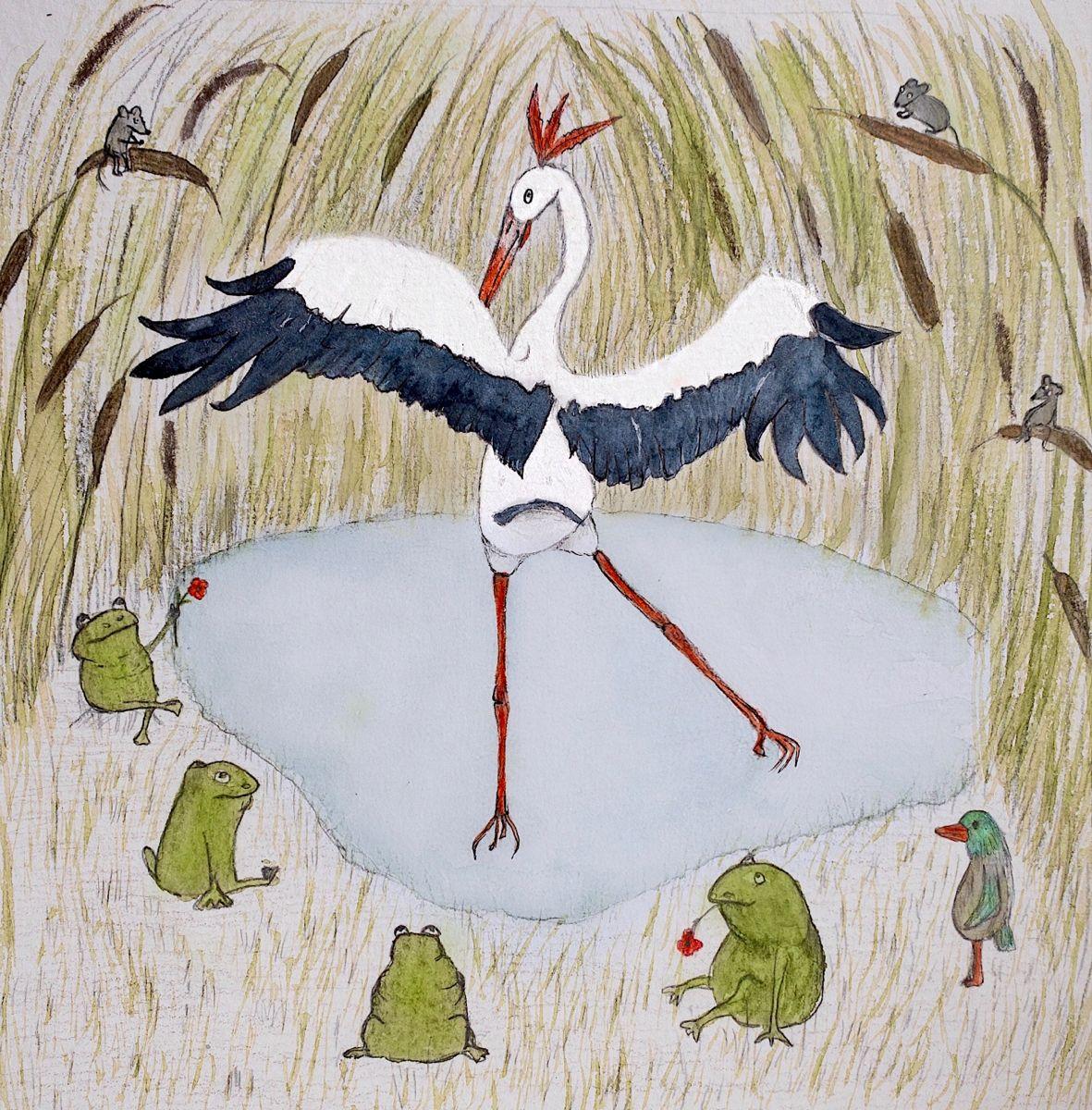 Артистичный Аист Artistic stork Артистичный аист каждый вечер устраивает на болоте представления для своих преданных поклонников