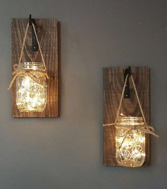 Set of 2 Hanging Mason Jar Sconces, Mason Jar Scon