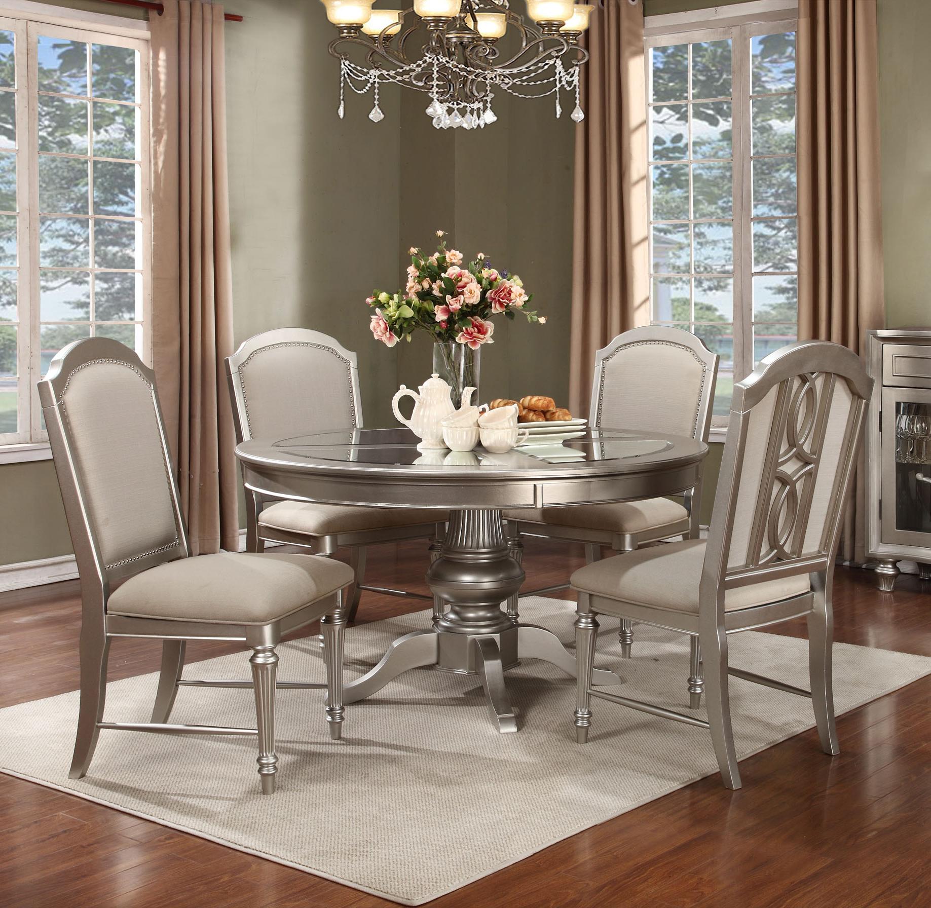 Regency Park Round Pedestal Dining Room Set In Platinum
