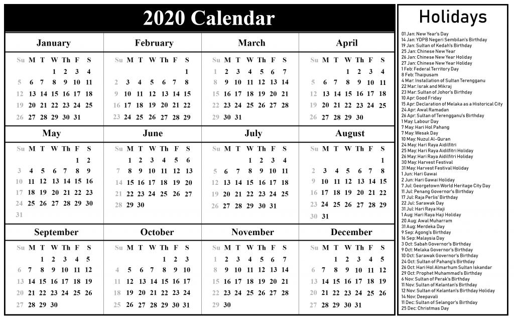 W 4 2020 Printable.Malaysia Holidays Calendar 2020 Printable Calendar 2020