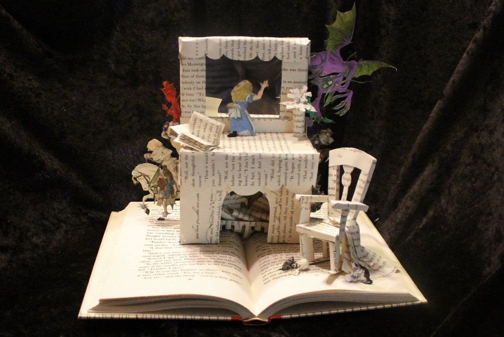 Through the Looking Glass Book Sculpture by wetcanvas.deviantart.com on @DeviantArt