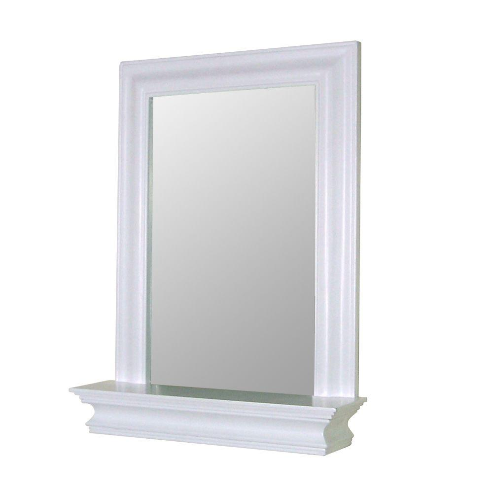 Elegant Home Fashions Stratford 18 In W X 24 In H Framed Rectangular Beveled Edge Bathroom Vanity Mirror In White Hd16650 The Home Depot Framed Mirror Wall Wall Mirror With Shelf [ 1000 x 1000 Pixel ]