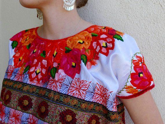 Guatemala huipil blouse short sassy ribbons embroidered white satin ...