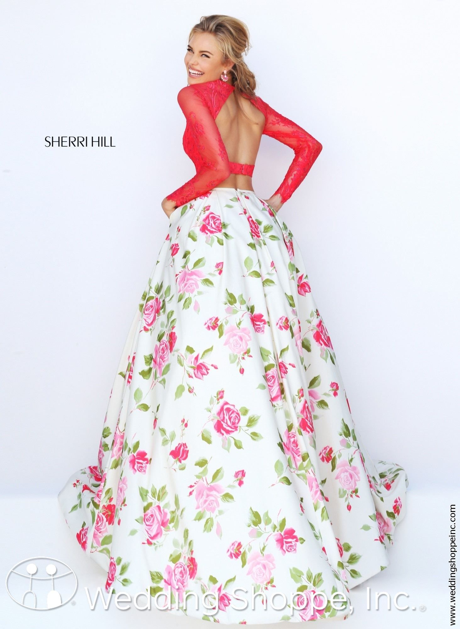 889dfbd8765f A long sleeve two-piece prom dress.
