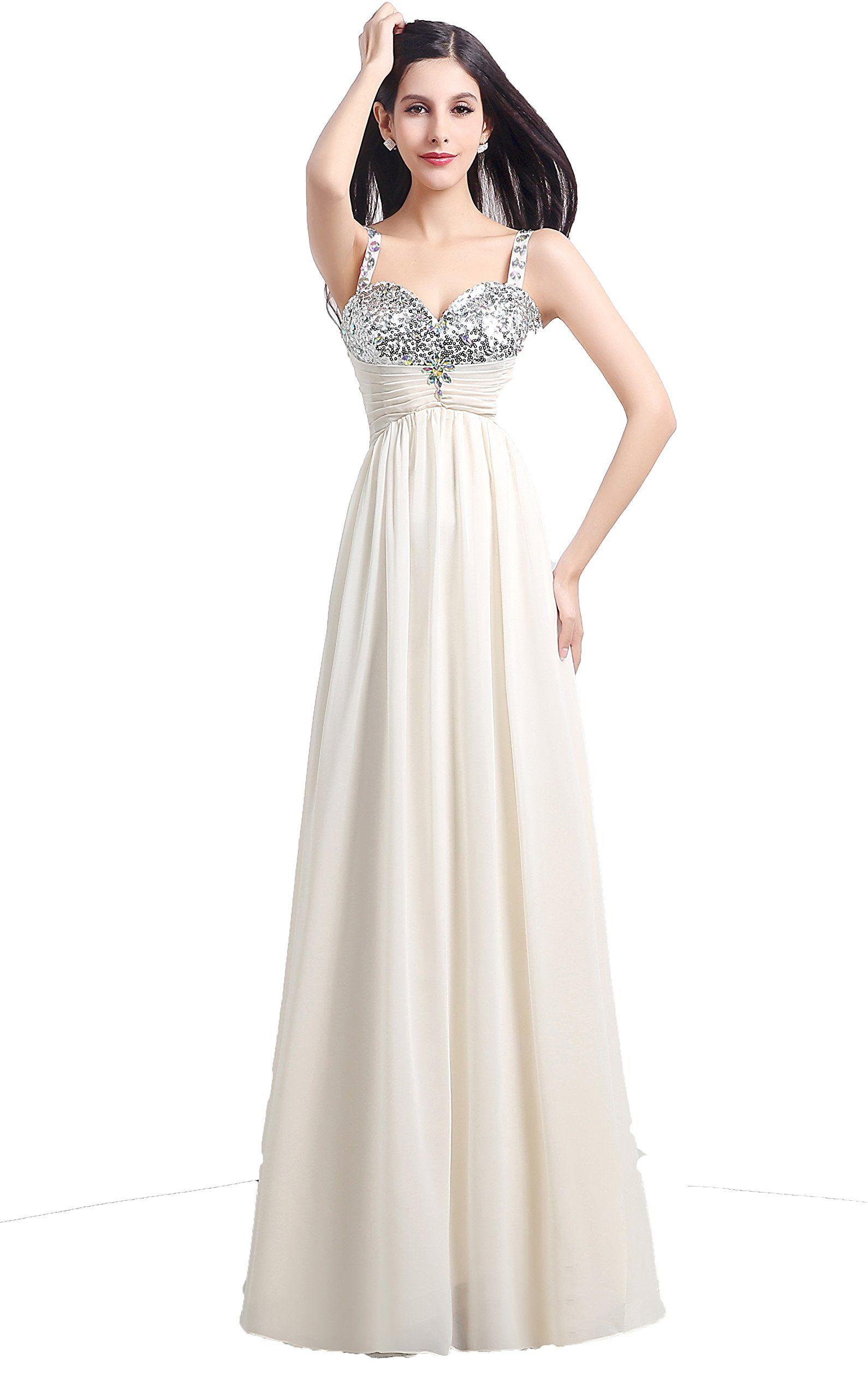Annieus bridal womenus chiffon sequins evening dresses long prom