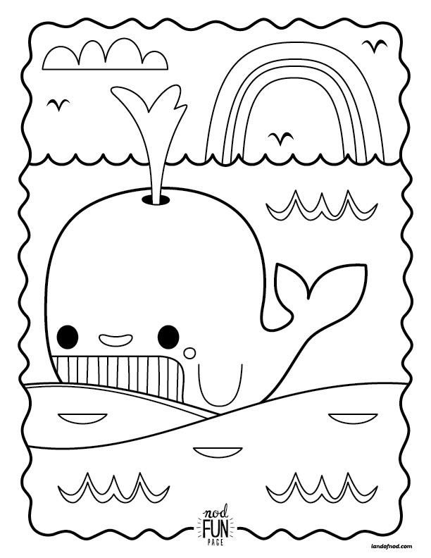 Nod Printable Whale Coloring Page Perfect for Road Trips