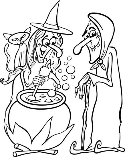Printable Halloween Witches Coloring Page For Kids Witch