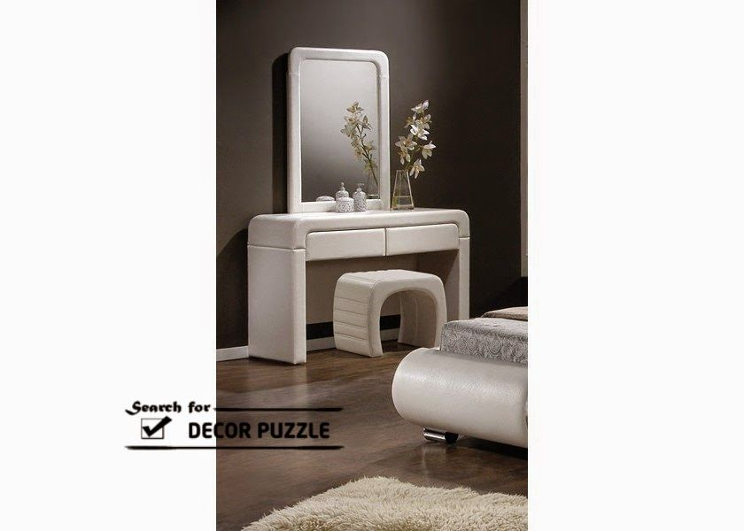 Great Modern Small Dressing Table With Mirror And White Chair