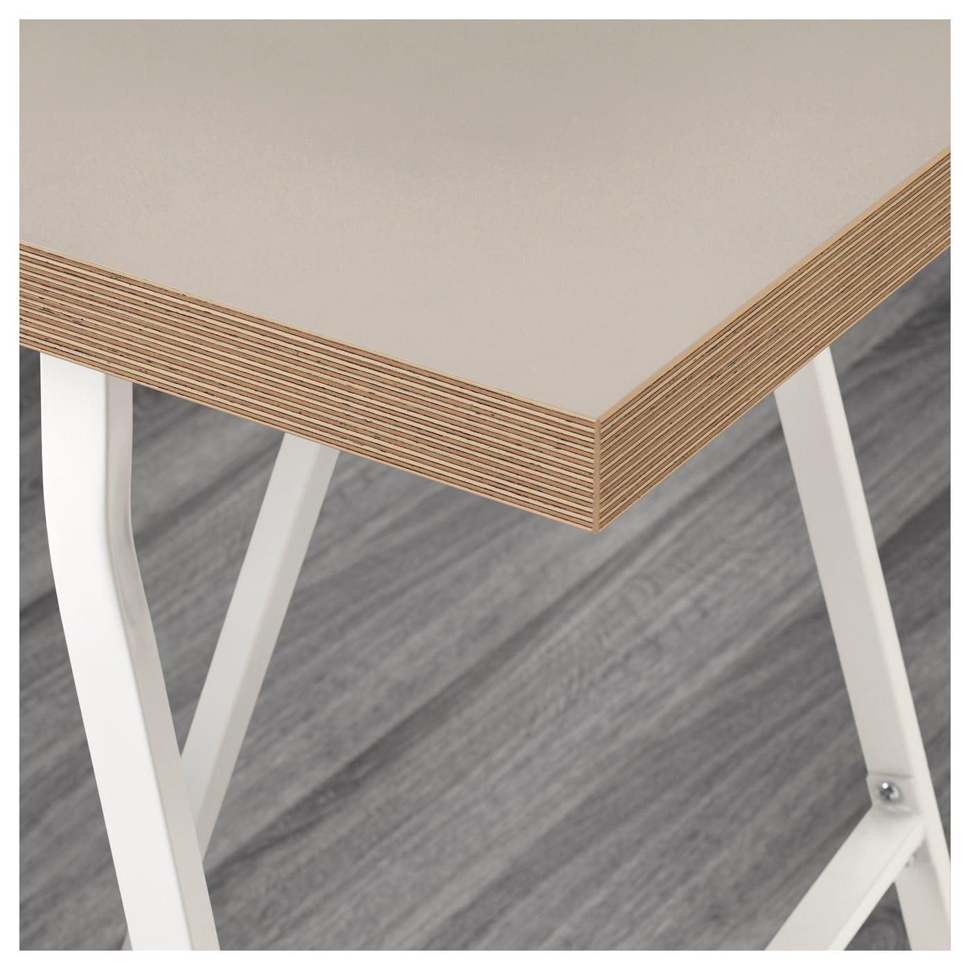 Linnmon Lerberg Table Beige Blanc Ikea Ikea Cadre En Bois Panneaux De Particules
