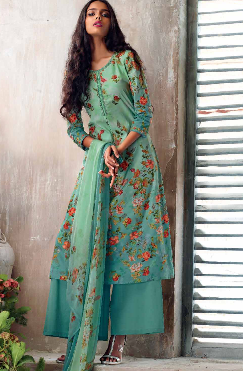 e1ca277b49 Mint Green and Sea Green Cotton Lawn Floral Print Design Ready to Stitch Salwar  Suit - SWE4708