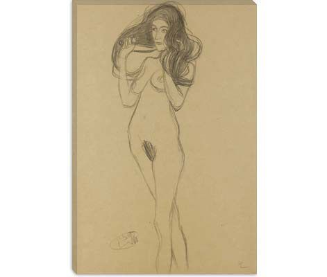 Standing Female Nude Facing Left, Holding Her Hair (Stehender Madchenakt Nach Links, Die Haare Mit Den Handen Haltend) by Gustav Klimt Canvas Print