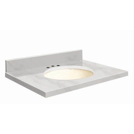 Transolid Natural Marble 37 inch x 22 inch Bathroom Vanity Top with Eased Edge, 8 inch Contour and Biscuit Bowl, White Carrara Top, Biscuit Bowl, Beige