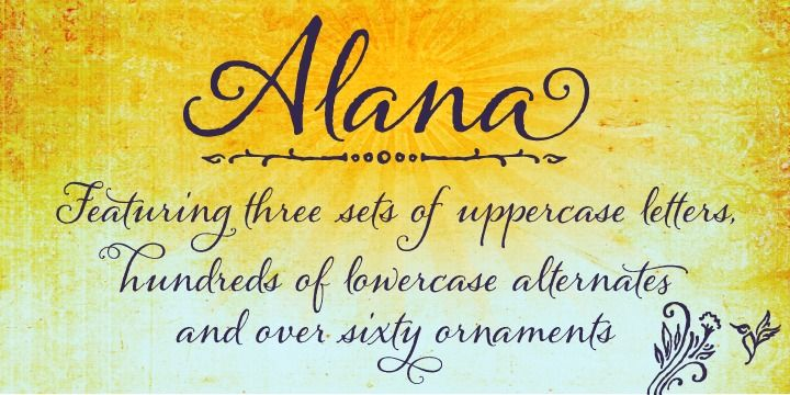 """another lovely swoopy font, """"Alana"""""""