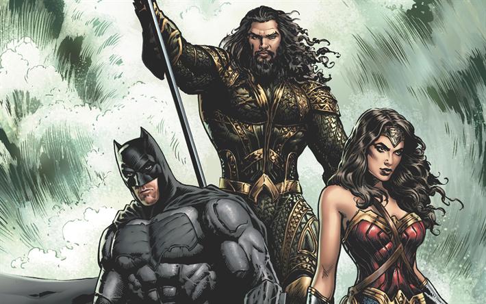 Download Wallpapers Superman Wonder Woman Batman Art 2017 Movie Superheroes Justice League Besthqwallpapers Com Superhero Superman Wonder Woman Wonder Woman