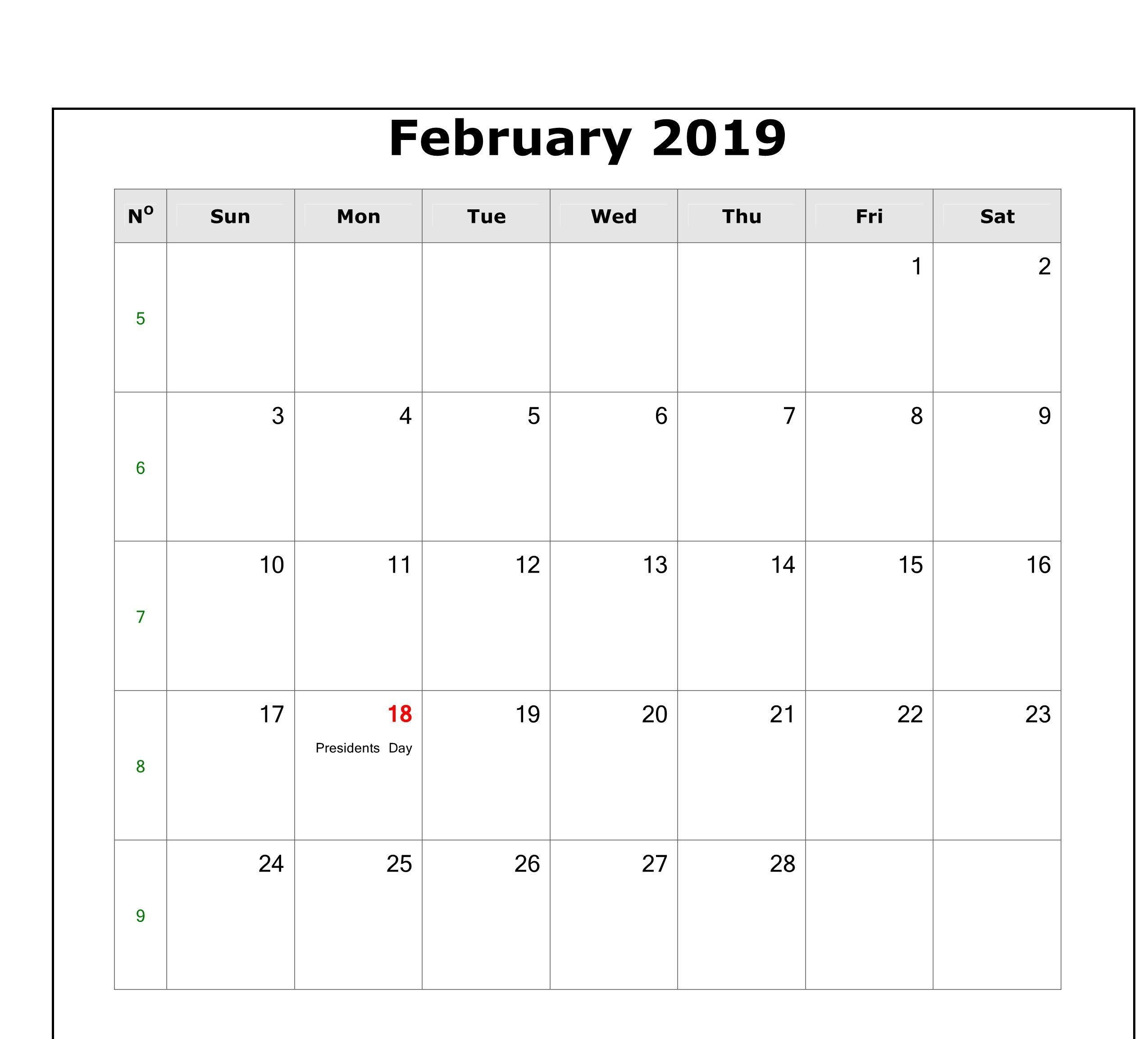 February 2019 Calendar With Holidays Printable February 2019