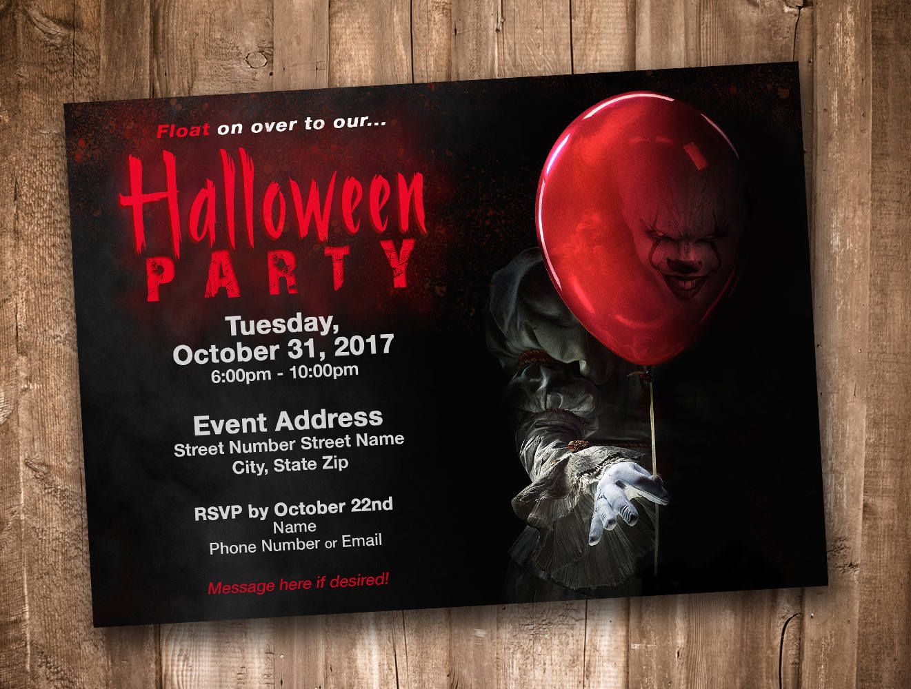 Pennywise Clown Adult Halloween Party Invitation *Personalized ...