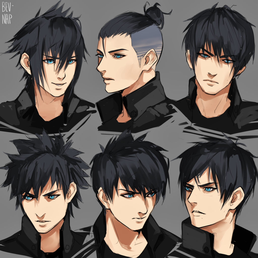 Noct Hairstyles By Bev Nap On Deviantart In 2020 Anime Hairstyles Male Manga Hair Anime Hair
