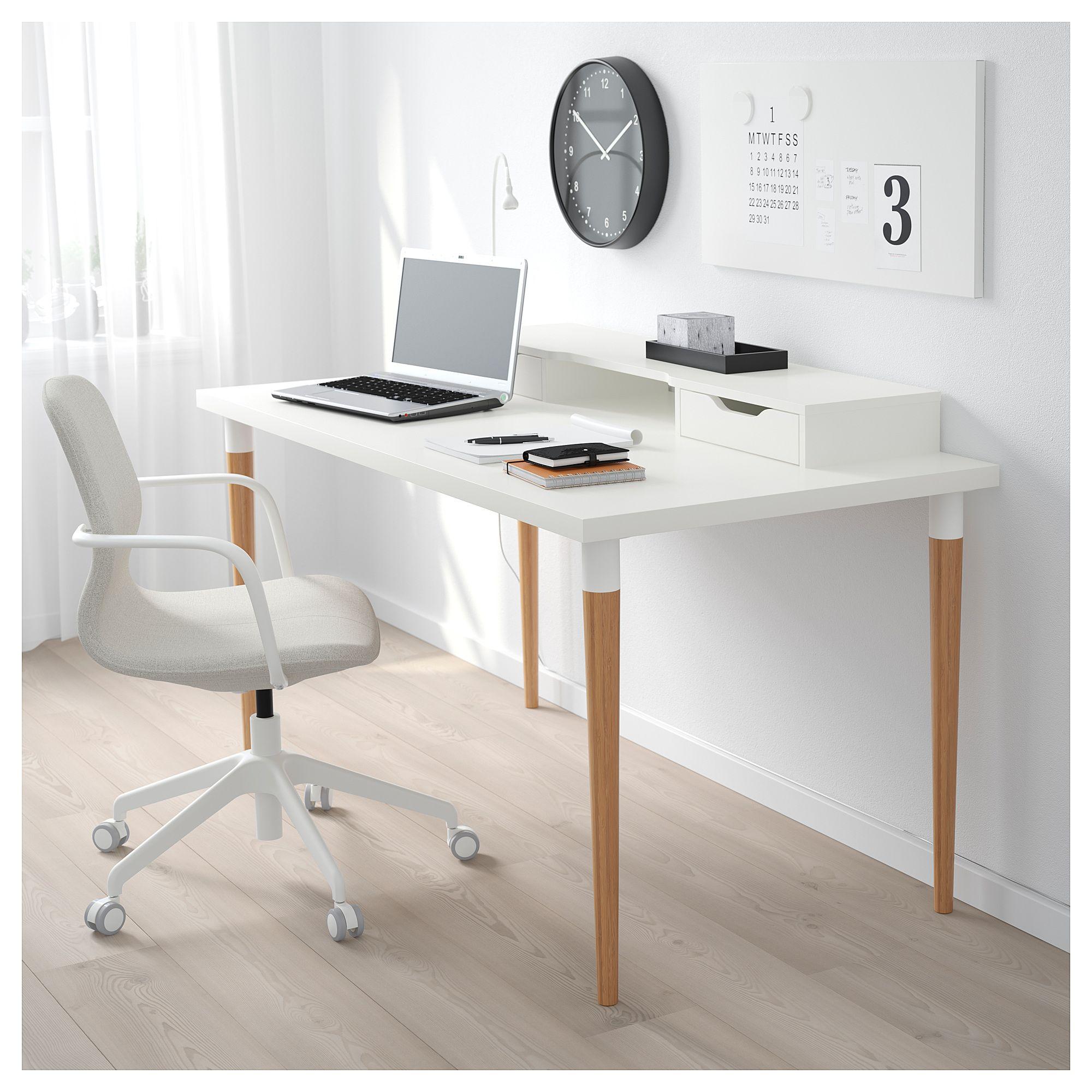 Ikea linnmon hilver table white bamboo en 2019 products home office desks ikea table y - Ikea plateau bureau ...