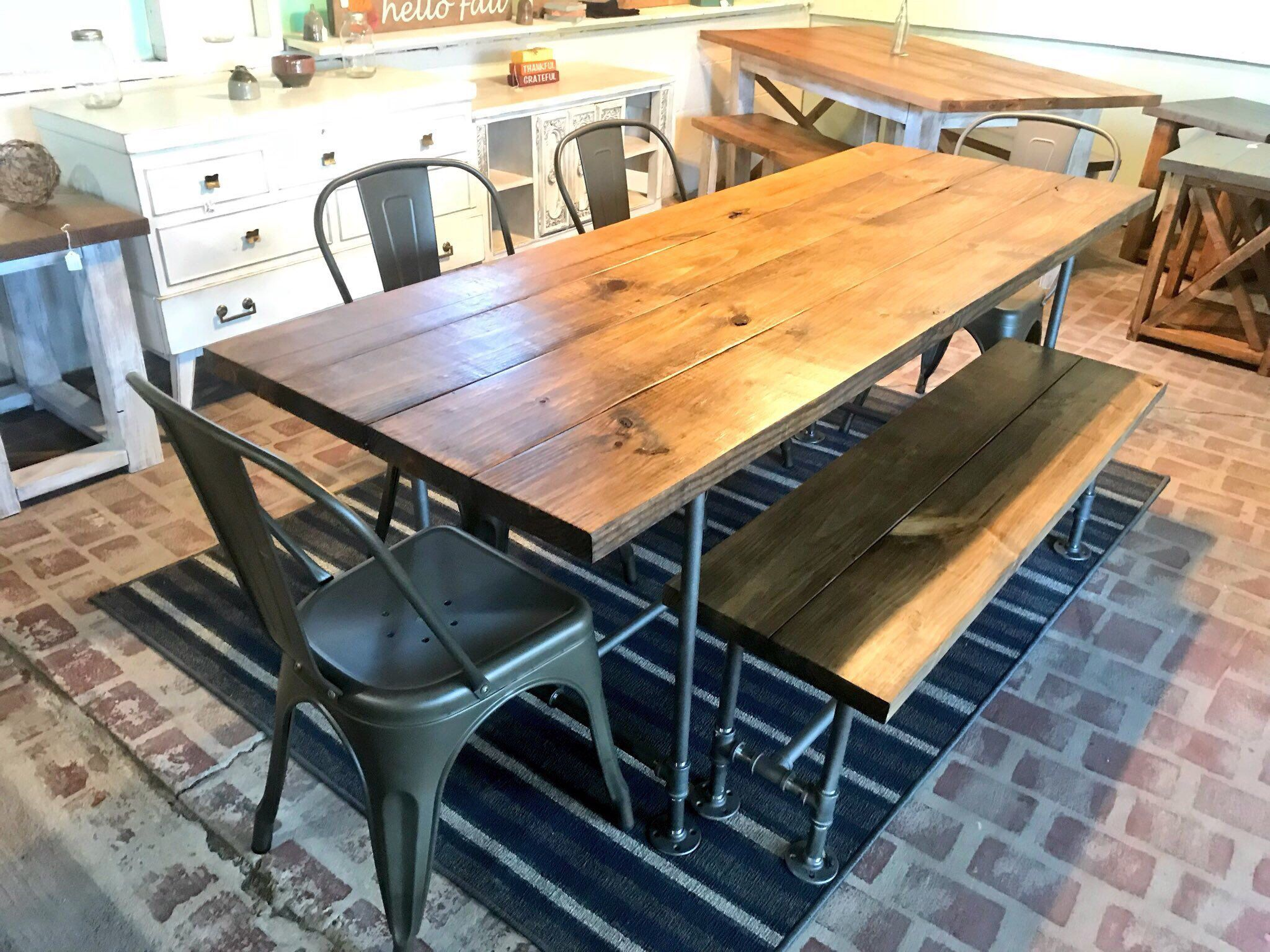 Industrial Style Farmhouse Table With Bench And Metal Chairs Etsy Farmhouse Table With Bench Industrial Farmhouse Table Metal Chairs