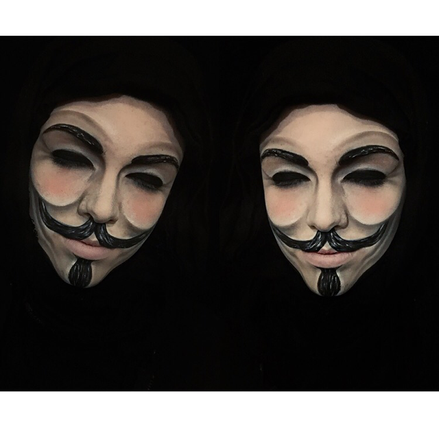 V For Vendetta Face Paint Done By 17 Year Old Glam Effects By Rachel Done On Herself Face Paint Makeup Body Art Painting V For Vendetta Face