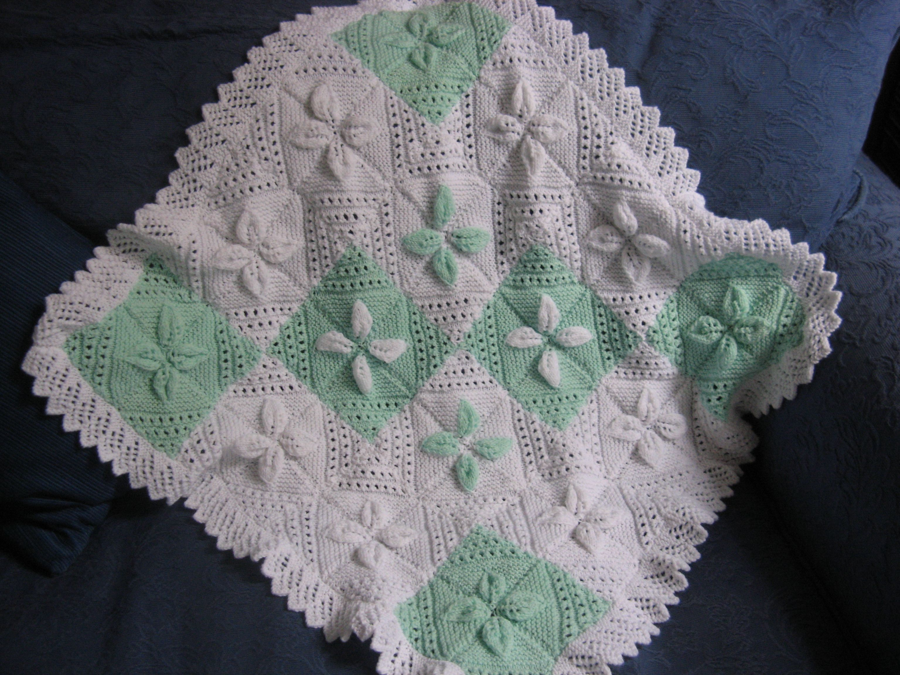 baby blanket from an ancient Patons pattern for a lace edged pram cover. Cr...