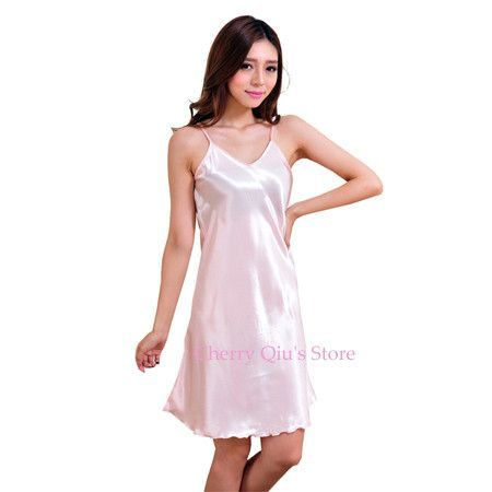 Ladies Sexy Silk Satin Nightgown Sleeveless Nighties Above Knee Nightdress  Plus Size Night Dress Summer Sleepshirt For Women 97772df52