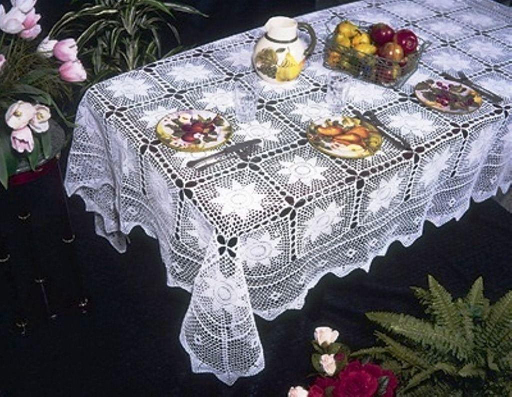 Spangled Tablecloth - Free Crochet Tablecloth Pattern   Crochet ...